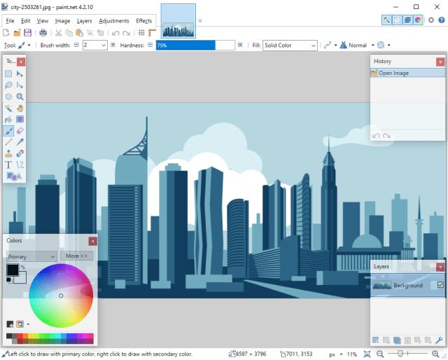 หน้าจอโปรแกรม Paint.NET