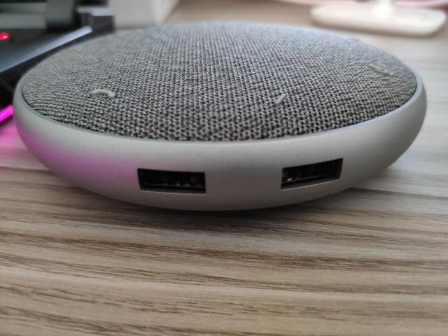ลำโพง Dell Mobile Adapter Speaker ด้านที่เป็นพอร์ต USB-A 2 พอร์ต