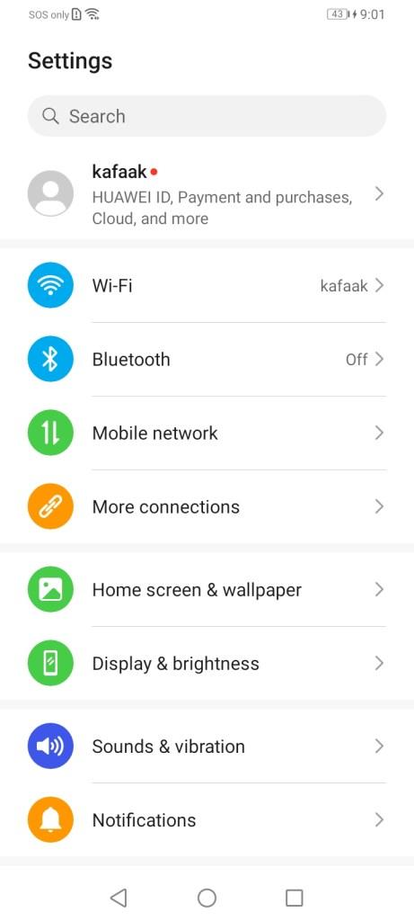 หน้าจอ Settings ของ Huawei Y6P
