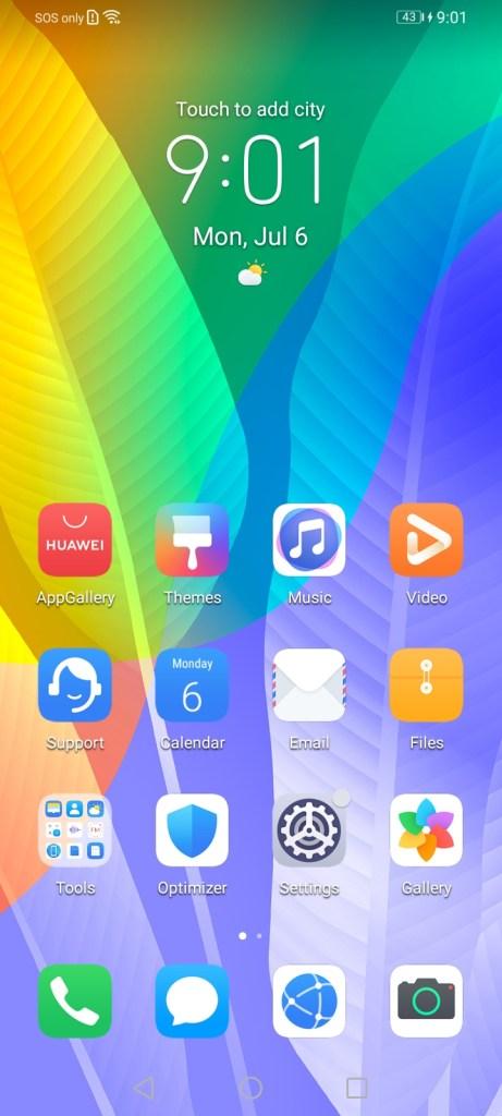 หน้าจอ Home screen ของ Huawei Y6P