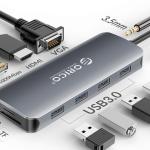 ภาพแสดงศักยภาพของ Orico USB-C 11-in-1 Multifunctional Adapter ที่สามารถเชื่อมต่อกับอุปกรณ์ได้หลากหลาย ผ่านพอร์ตต่างๆ ที่มี