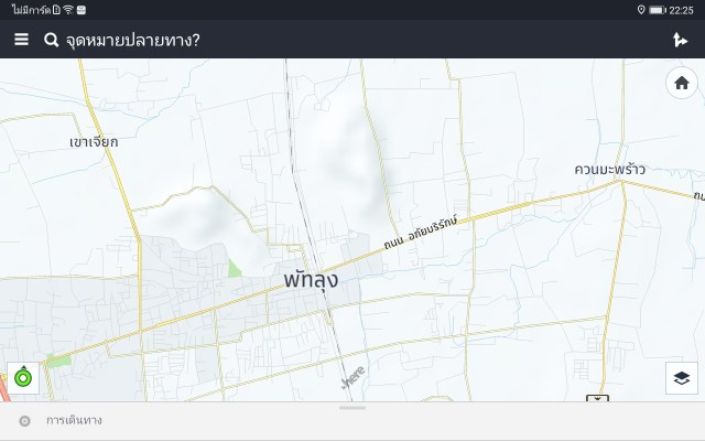 หน้าจอ HERE Maps กำลังแสดงแผนที่ในละแวก ควนมะพร้าว จังหวัดพัทลุง