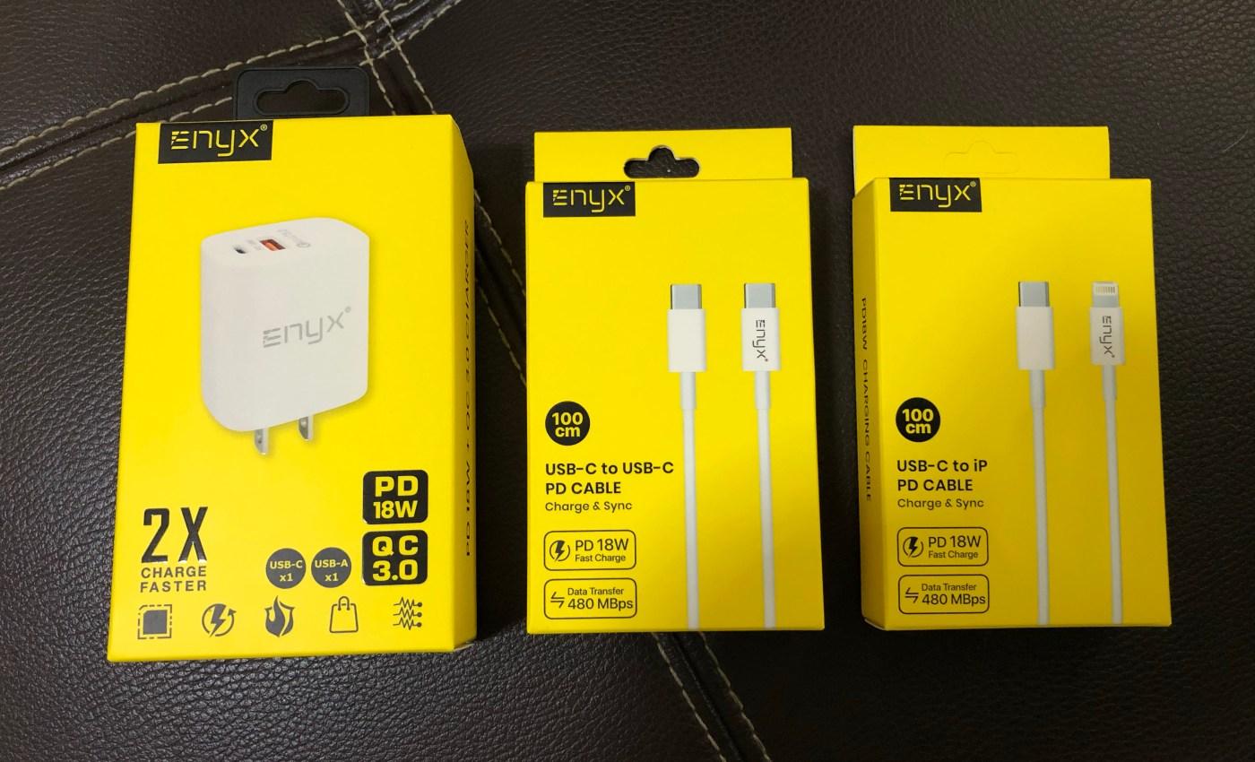 Enyx PD 18W + QC 3.0 Charger และสายชาร์จแบบ USB-C PD อีกสองแบบ