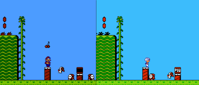 ซ้ายมือเป็นภาพจากเกมมาริโอ้ 2 อเมริกา ส่วนขวามือคือเกม Doki Doki Panic ในฉากเดียวกัน จะเห็นว่าตัวละครเหมือนกันหมด ยกเว้นตัวเอกที่เป็นมาริโอ้ กับตัวเอกของเกม Doki Doki Panic