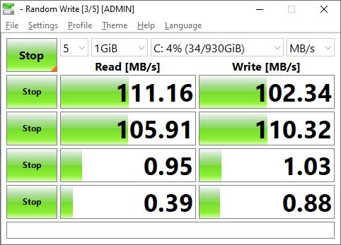 ผลการทดสอบความเร็วฮาร์ดดิสก์ด้วย CrystalDiskMark ของ ASUS Vivo AiO M241DAK-BA016TS