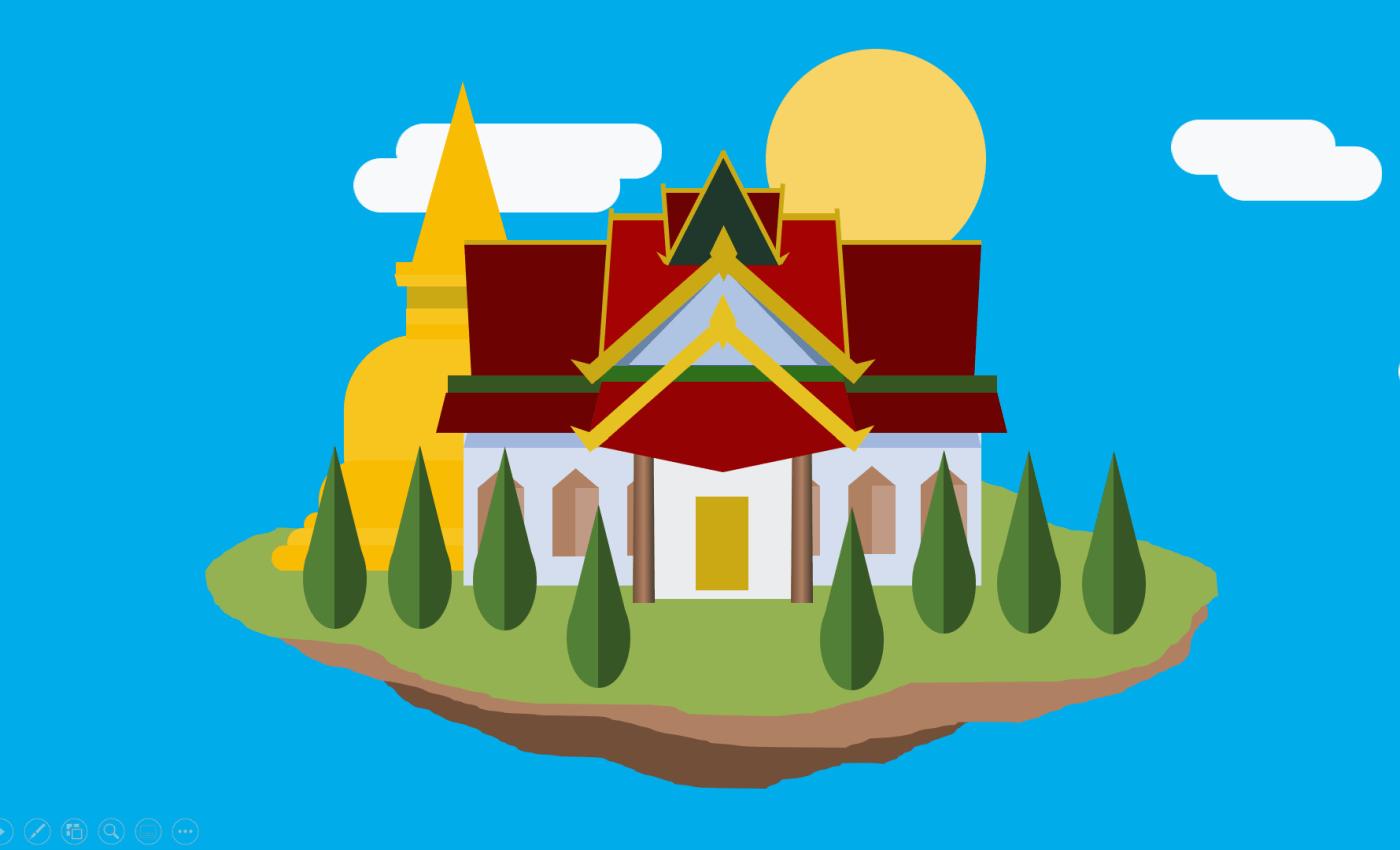 ภาพกราฟิกของโบสถ์และเจดีย์ที่อยู่บนเกาะลอยอยู่บนอากาศ