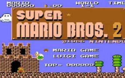 หน้าจอเริ่มเกม Super Mario Bros 2 เวอร์ชันญี่ปุ่น