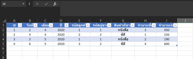 ตาราง Excel ตัวอย่างการเก็บข้อมูลการขายหนังสือและซีดี