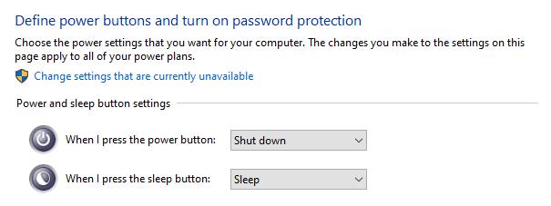 หน้าจอการตั้งค่า Power and sleep button settings ของ Windows 10