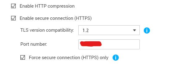 หน้าจอการตั้งค่าเพื่อใช้งาน HTTPS ของ QNAP NAS