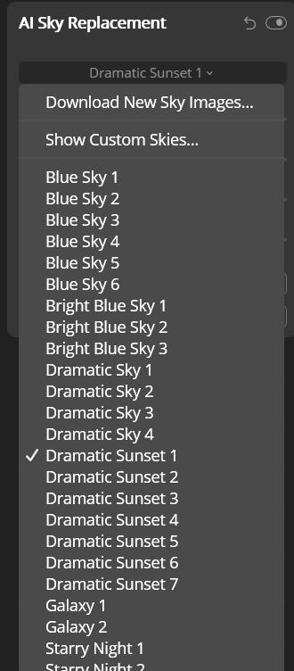 ตัวเลือกของ AI Sky Replacement