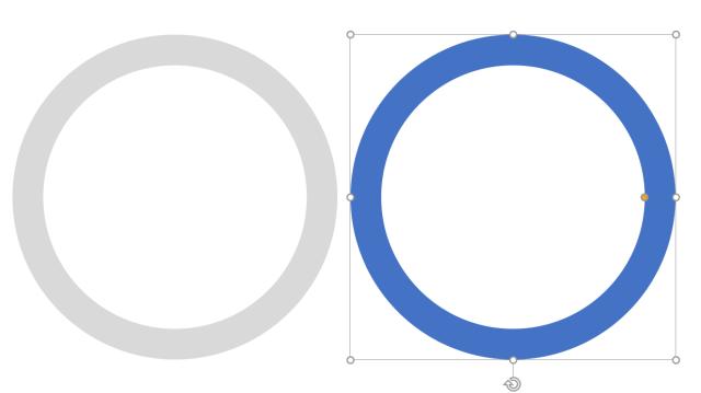 วงกลมแบบกลวงสองวง อันซ้ายสีเทา อันขวาสีน้ำเงิน