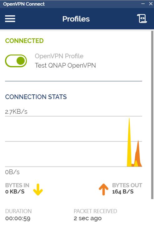 หน้าจอแสดงการเชื่อมต่อของ OpenVPN client