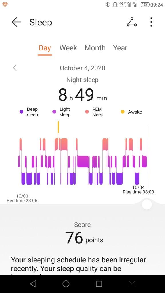 หน้าจอแอป Huawei Health แสดงข้อมูลการนอนหลับ