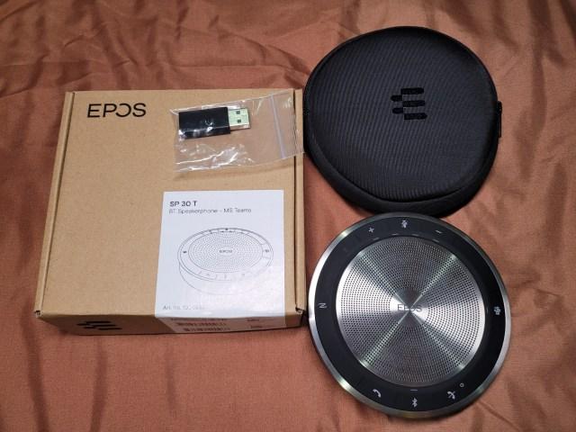 กล่องและของที่อยู่ในกล่องของลำโพง EPOS Expand SP30T