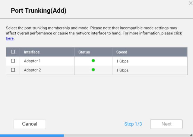 หน้าจอ Port trunking (Add) ของ QNAP NAS แสดงรายชื่อ Adapter 1 และ Adapter 2 ให้เลือก
