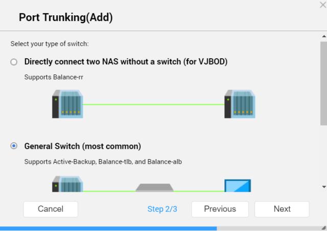 หน้าจอ Port trunking (Add) ของ QNAP NAS แสดงตัวเลือกสองตัว คือ Directly connect two NAS without a switch (for VJBOD) และ General Switch (most common)