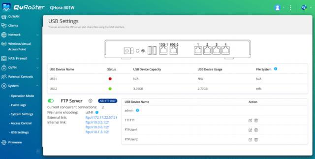หน้าจอ USB Settings ของ QuRouter