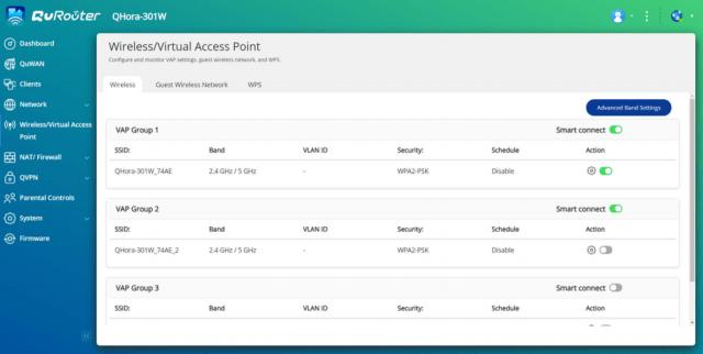 หน้าจอ Wireless/Virtual Access Point ของ QuRouter