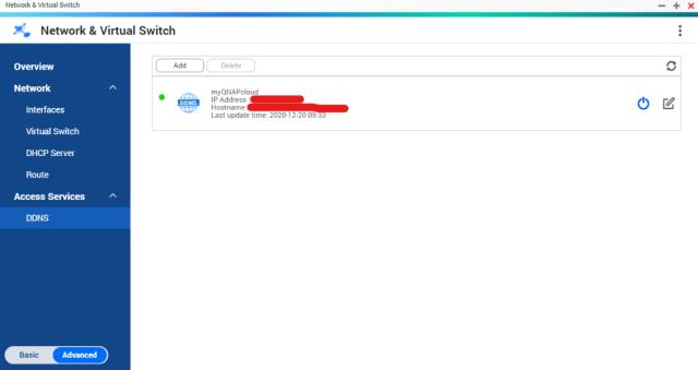 หน้าจอ Network & Virtual Switch ที่แสดงรายการ DDNS ของ myQNAPcloud อยู่