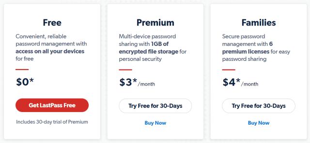 ตารางราคาของ LastPass แบบ ฟรี พรีเมียม และ ครอบครัว