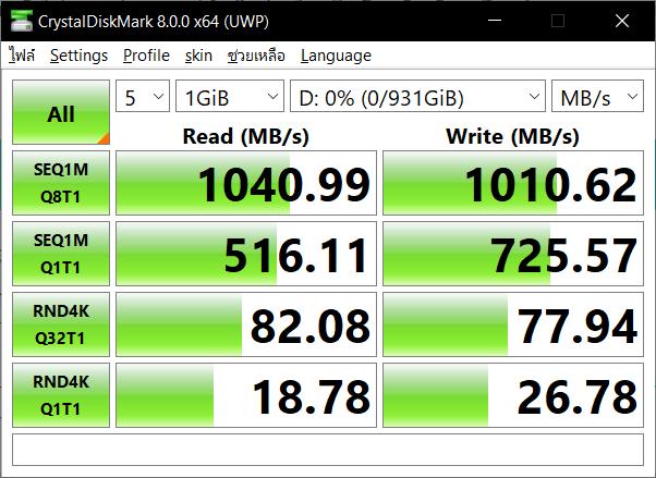 ผลการทดสอบ SanDisk Extreme Portable SSD 1TB ด้วยโปรแกรม CrystalDiskMark 8.0.0 x64