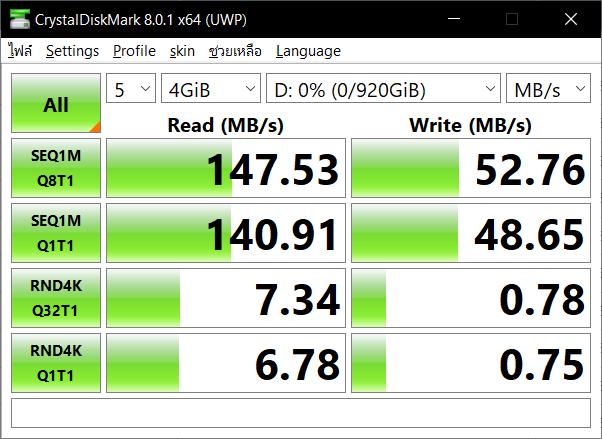 หน้าจอโปรแกรม CrystalDiskMark 8.0.1 x64 (UWP) กำลังแสดงผลการทดสอบความเร็วของแฟลชไดร์ฟ SanDisk Ultra Dual Drive Luxe 1TB