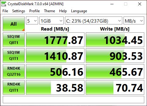 หน้าจอโปรแกรม CrystalDiskMark 7.0.0 แสดงผลการทดสอบความเร็วของ SSD ของ ASUS AIO V241EAK-BA010TS