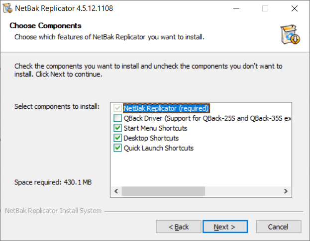 หน้าจอติดตั้งโปรแกรม NetBak Replicator ในส่วนการเลือกติดตั้งส่วนประกอบของโปรแกรม