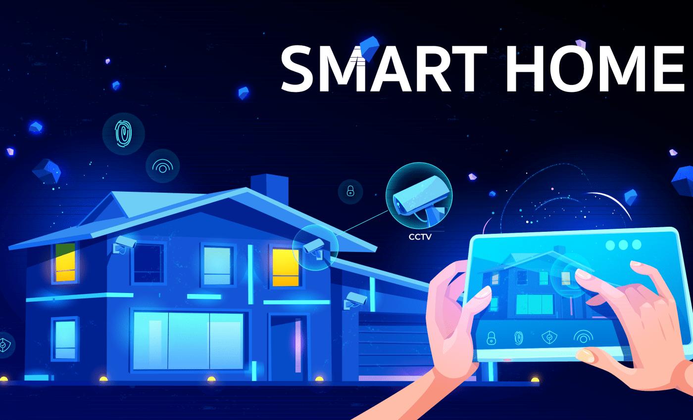 ภาพกราฟิกรูปบ้านที่เป็น Smart Home มีมือกำลังถือแท็บเล็ต สั่งงานควบคุม