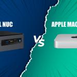 กราฟิกประกอบบล็อก เป็นภาพของตัวเครื่อง Intel NUC และ Apple Mac mini M1 อยู่บนแบ็กกราวด์สีน้ำเงินเข้มและสีเขียว ที่แบ่งครึ่งซ้ายและขวา แสดงให้เห็นถึงการประชันหน้ากันของคอมพิวเตอร์สองค่าย