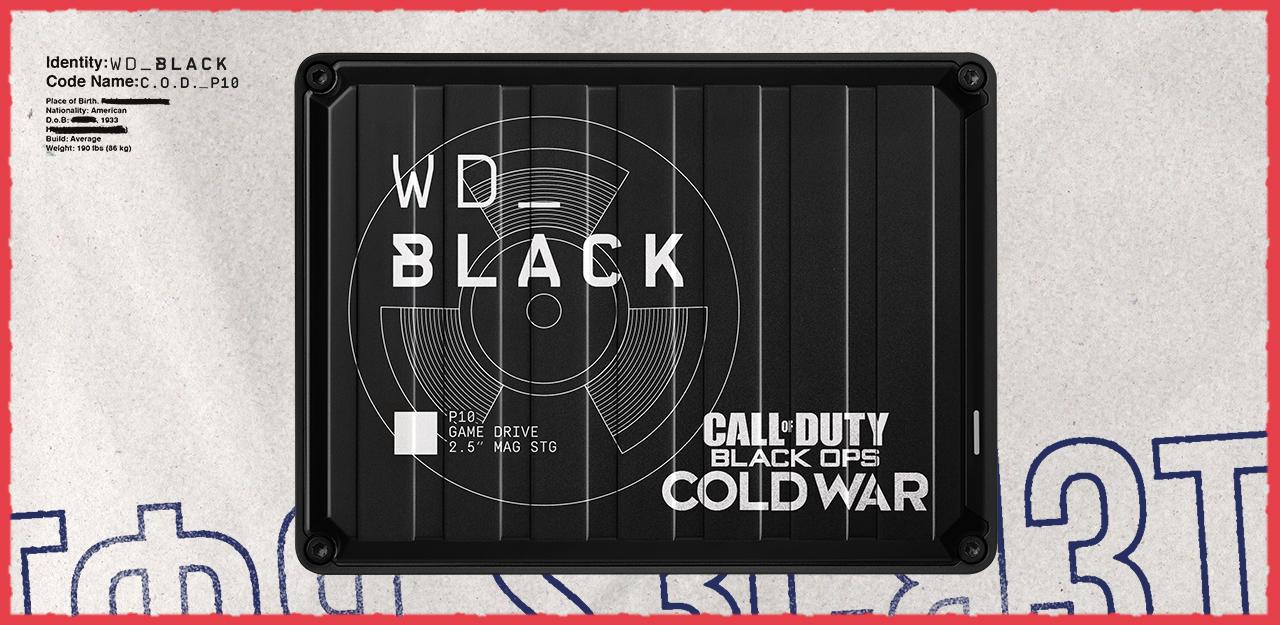 ภาพของฮาร์ดดิสก์พกพา WD Black เวอร์ชันนักสะสมสำหรับคอเกม Call of Duty