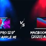 ภาพของ iPad Pro 12.9 นิ้ว ใต้แสงไฟสีฟ้า กับ MacBook Pro 13 นิ้ว ใต้แสงไฟสีแดง อยู่ในลักษณะเปรียบเทียบประชันกัน