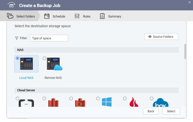 หน้าจอของแอป HBS3 ในส่วนของการสร้าง Backup job แล้วเลือกต้นทางของข้อมูล