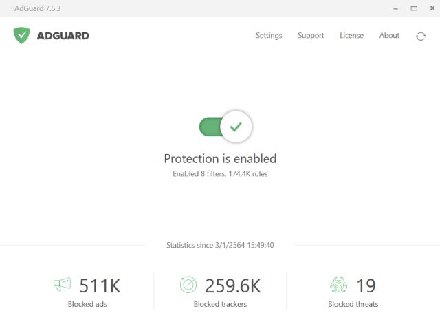 หน้าจอโปรแกรม AdGuard แสดงข้อมูลสถิติการบล็อกโฆษณาและ Tracker