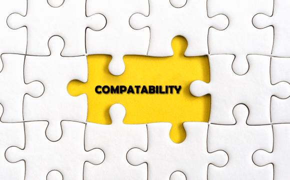 ภาพของตัวต่อจิ๊กซอว์สีขาว ที่ต่อเรียงกันเป็นพรืด แต่เว้นที่ว่างไว้ตรงกลาง เป็นแบ็กกราวด์สีเหลือ และมีข้อความตัวอักษรสีดำเขียนว่า Compatability