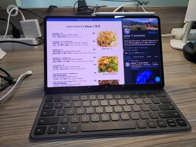 "Huawei MatePad Pro 12.6"" กำลังเปิดแอปสองตัวพร้อมกันในโหมด Multi-view"