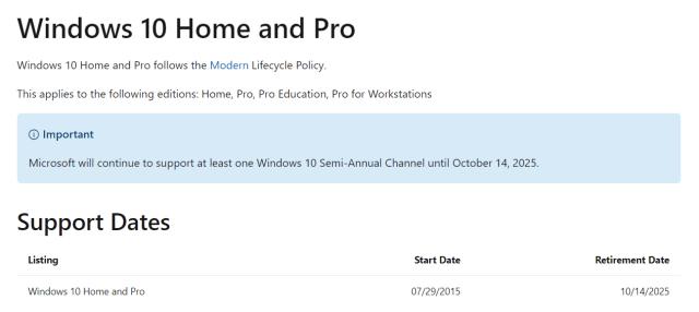 ภาพหน้าเว็บของ Microsoft ที่แสดงวันที่สิ้นสุดการสนับสนุนระบบปฏิบัติการ Windows 10 และ Windows 10 Pro
