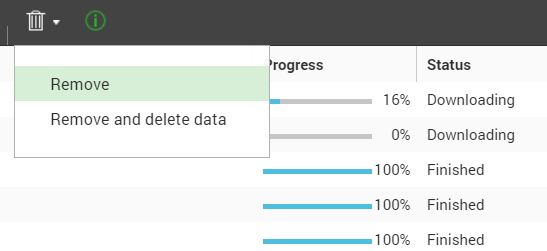 ส่วนหนึ่งของหน้าจอแอป Download Station ในการ Remove download task