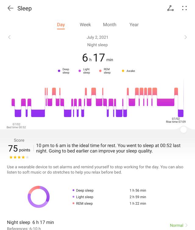 หน้าจอแอป HUAWEI Health แสดงตัวอย่างของข้อมูลการนอนหลับที่ได้จากสมาร์ทวอทช์ HUAWEI WATCH 3