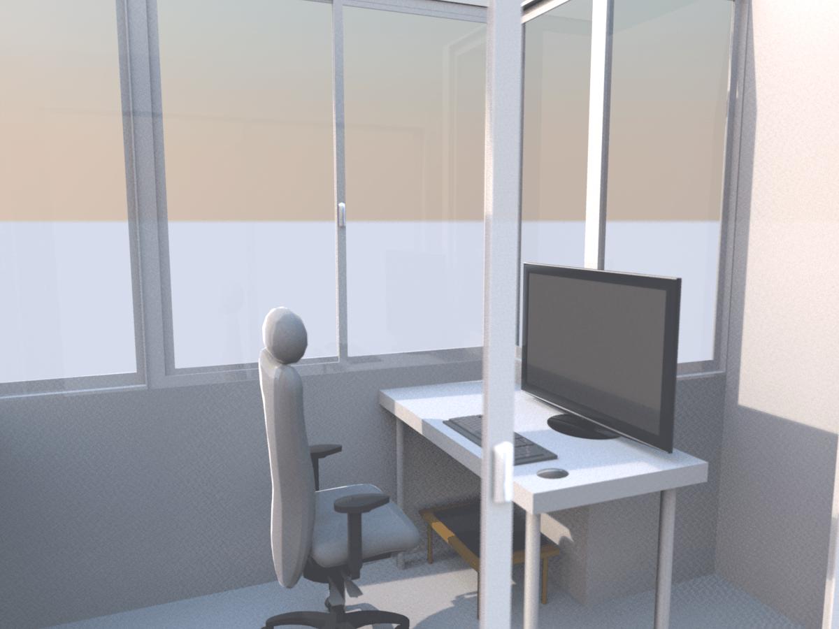 ภาพเรนเดอร์ 3 มิติของห้องทำงาน ที่มีเก้าอี้ จอคอมพิวเตอร์ คีย์บอร์ดและเมาส์ มีแสงเข้ามาตามธรรมชาติ