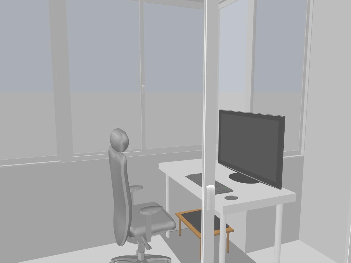ภาพเรนเดอร์ 3 มิติของห้องทำงาน ที่มีเก้าอี้ จอคอมพิวเตอร์ คีย์บอร์ดและเมาส์ แบบที่ไม่มีมีแสงเข้ามาตามธรรมชาติ