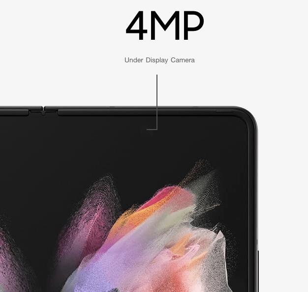 ภาพอธิบายตำแหน่งของกล้องเซลฟี่จอด้านในของ Samsung Galaxy Z Fold 3