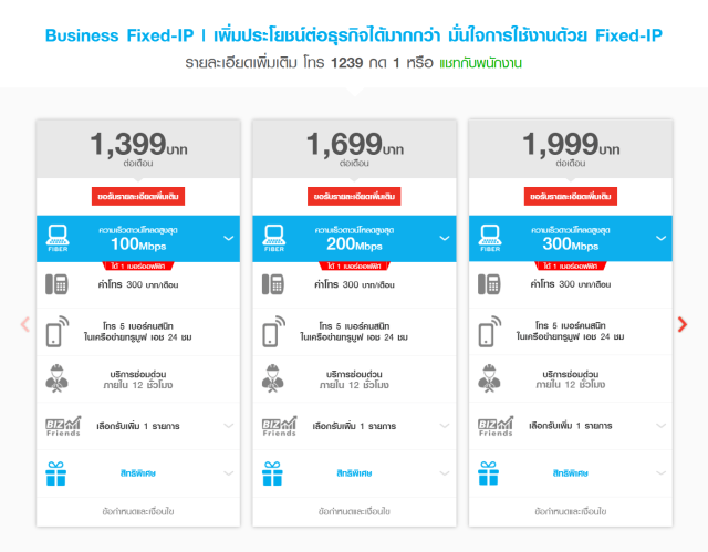 ตัวอย่างแพ็กเกจอินเทอร์เน็ตสำหรับธุรกิจ ที่ให้ Fixed IP ด้วย ของทรู