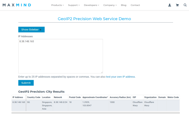หน้าจอเว็บ MAXMIND ที่แสดงผลการค้นหา IP address ว่าเป็นของประเทศไหน