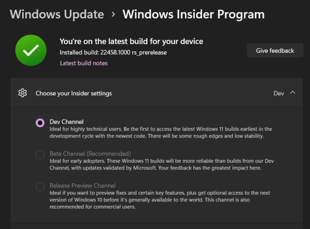 หน้าจอ Windows Update ในส่วนของ Windows Insider Program ที่มีตัวเลือกว่าอยากจะอัปเดตผ่าน Channel ไหน