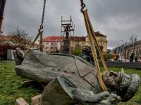 The statue of Soviet marshal Ivan Konev being removed in Prague