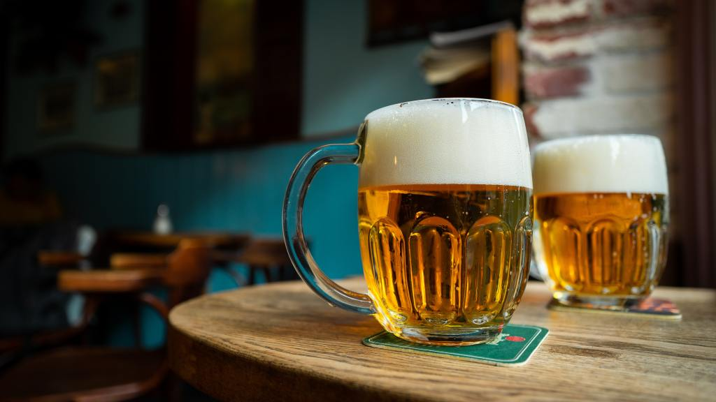 Glass of Pilsner beer in Prague, Czech Republic