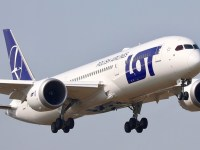 A LOT Polish Airlines plane during take-off