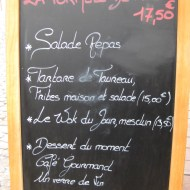 """Another menu. Notice that bull or """"Taureau"""" is listed."""